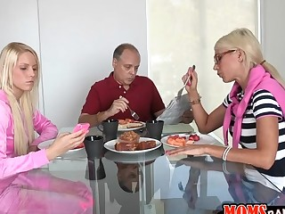 Hunk is delighted to pound youthful sweetheart and her sexy mum